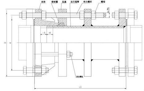 VSSJAFC(CC2F)型可拆式双法兰传力接头结构示意图: