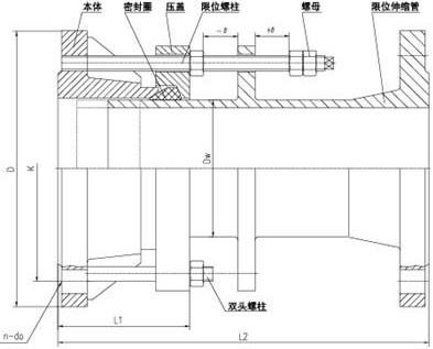 VSSJA-1型单法兰限位伸缩接头结构图: