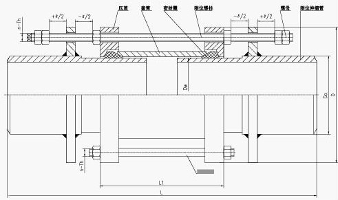 BY(SSJB-3)型压盖式松套限位伸缩器简单示意图