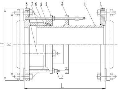 SF型钢制伸缩器结构示意图