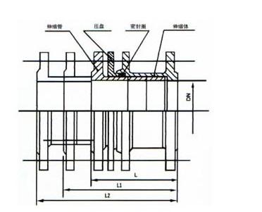 SSQ型铸铁伸缩器结构示意图