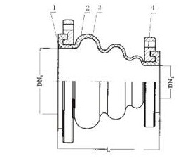KYT型同心异径橡胶接头结构示意图