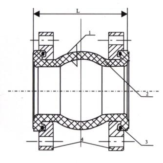 KDF型翻边单球体橡胶接头结构示意图