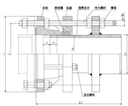 VSSJAFG型单法兰传力接头结构示意图